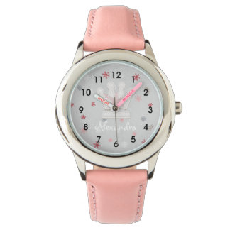 Girl's Pink Princess Crown and Snowflakes Watch