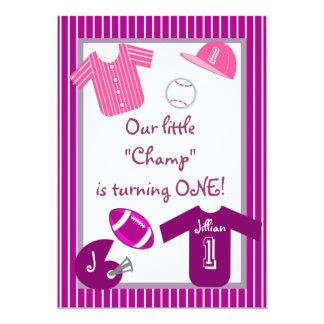 Girls Pink Purple Sports Birthday Party Invitation