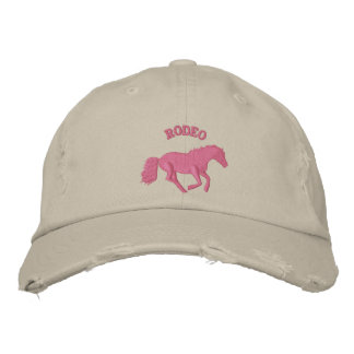 Girls pink rodeo horse riding embroidered hat