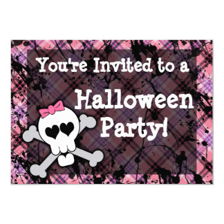 Girl's Pink Skull Halloween Party Card