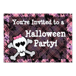 "Girl's Pink Skull Halloween Party 5"" X 7"" Invitation Card"
