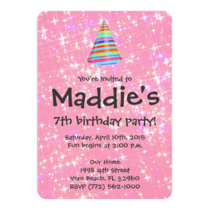 Pink 7th birthday invitations zazzle girls pink sparkle 7th birthday party invite stopboris Image collections