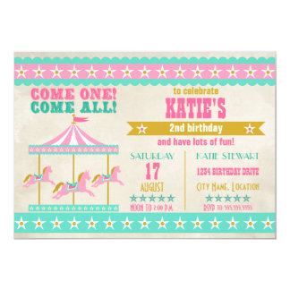 Girl's Pink Turquoise Gold Carousel Party 13 Cm X 18 Cm Invitation Card