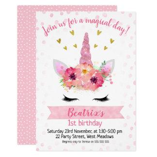 Girls Pink Unicorn Face Birthday Invitation