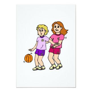 Girls play basketball personalized invitation