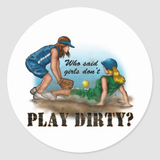 Girls Play Dirty Classic Round Sticker