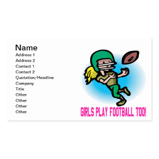 Girls Play Football Too Double-Sided Standard Business Cards (Pack Of 100)