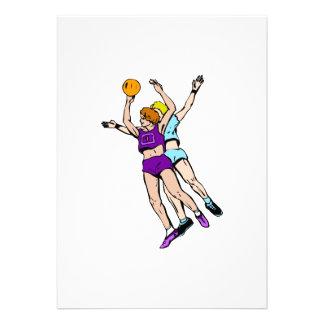 Girls playing basketball custom invites