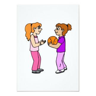 Girls playing basketball invite