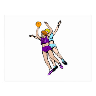 Girls playing basketball post cards