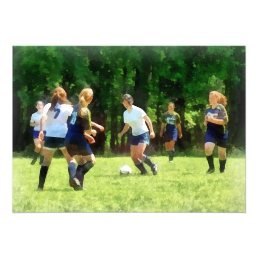 Girls Playing Soccer Personalized Announcement