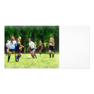 Girls Playing Soccer Personalized Photo Card