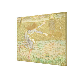 Girls Playing Tennis, from 'Woodcuts in Line and C Canvas Print