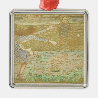 Girls Playing Tennis, from 'Woodcuts in Line and C Christmas Ornament