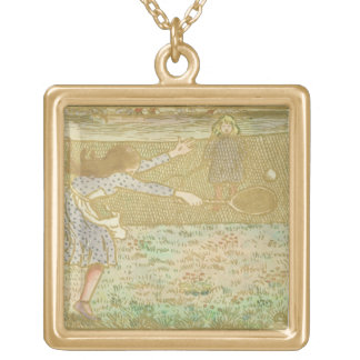 Girls Playing Tennis, from 'Woodcuts in Line and C Gold Plated Necklace