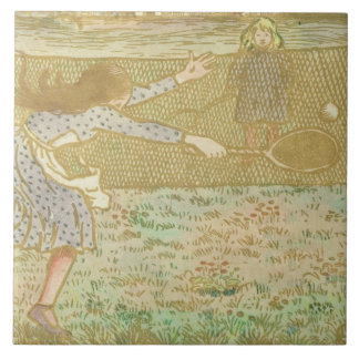 Girls Playing Tennis, from 'Woodcuts in Line and C Tile
