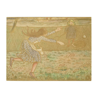 Girls Playing Tennis, from 'Woodcuts in Line and C Wood Canvases