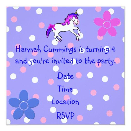 Girl's Polka Dot and Unicorn Birthday Invitation