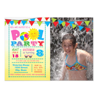 Girls Pool Birthday Party Invitations With Photo