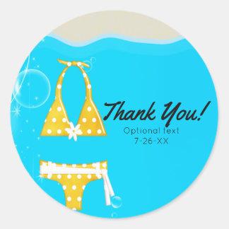 Girls Pool Party Bikini Birthday Swim Custom Favor Round Sticker