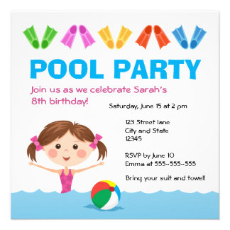 Girls pool party birthday invitation