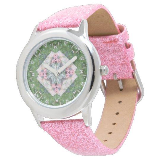Girl's Pretty Pink Daisy Mandala Watch