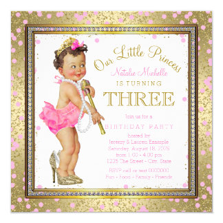 Girls Princess 3rd Birthday Party Pink Gold 13 Cm X 13 Cm Square Invitation Card