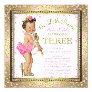 Girls Princess 3rd Birthday Party Pink Gold 13 Cm X 13 Cm Square Invitation Card