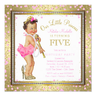 Girls Princess 5th Birthday Party Pink Gold 13 Cm X 13 Cm Square Invitation Card