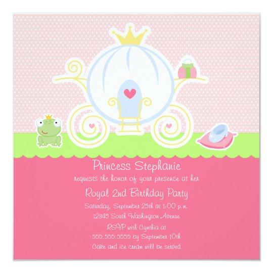 Girl's princess birthday party carriage invitation