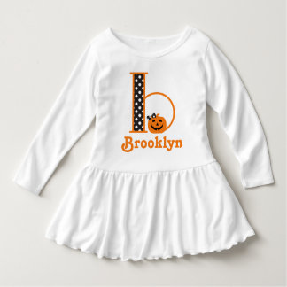Girls Pumpkin Dress w Halloween Monogram b