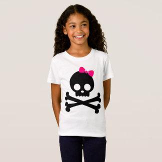 Girl's Punky Skull White Jersey T-Shirt