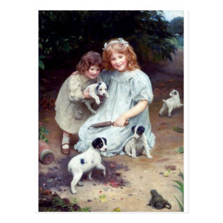 girls puppies toad dogs children sisters postcard