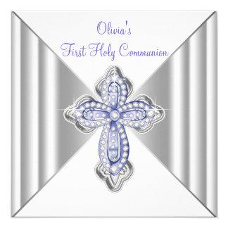 Girls Purple First Communion 13 Cm X 13 Cm Square Invitation Card