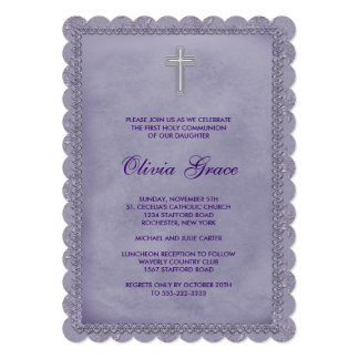 Girls Purple First Communion 13 Cm X 18 Cm Invitation Card