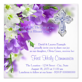 Girls Purple Floral Cross First Communion 13 Cm X 13 Cm Square Invitation Card