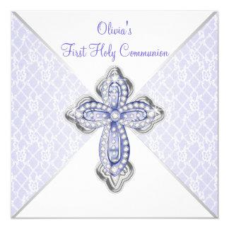 Girls Purple Lace First Communion 13 Cm X 13 Cm Square Invitation Card