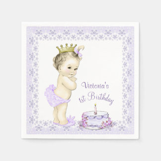 Girls Purple Princess 1st Birthday Cocktail Napkin Disposable Serviette