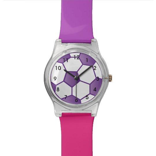 Girls Purple Soccer Ball Wrist Watch