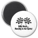 Girls Racing Fridge Magnets