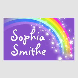 Girls rainbow name purple id label sticker