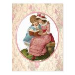 Girls Reading Post Card