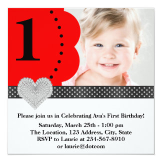 Girls Red Photo Birthday Party 5.25x5.25 Square Paper Invitation Card