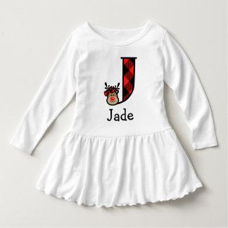 Girl's Reindeer Xmas Buffalo Plaid Dress initial J