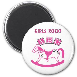 Girls Rock 6 Cm Round Magnet