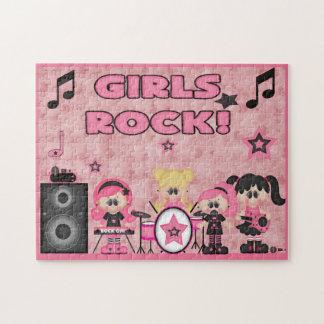 Girls Rock Band Music Pink Black Jigsaw Puzzle