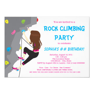 Girls Rock Climbing Birthday Party Invitations