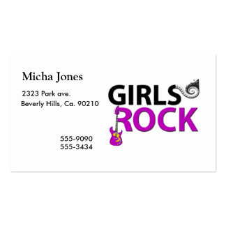 Girls Rock Guitar Piano Keys & Music Pack Of Standard Business Cards