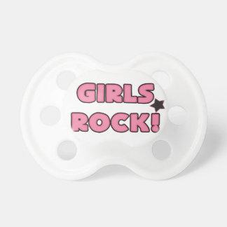 Girls Rock Hot Pink Black Pacifier
