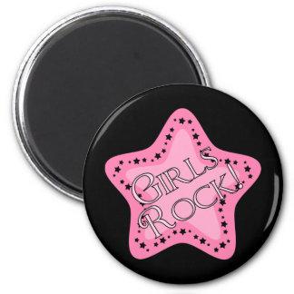 Girls Rock Pink Star 6 Cm Round Magnet